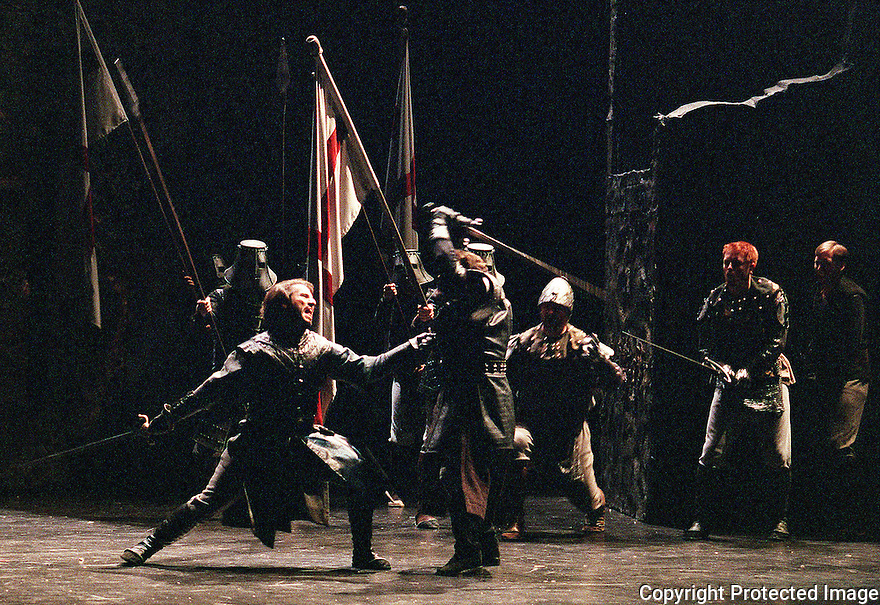 2001 - MACBETH - Macduff (Andrew Richards) takes his revenge upon Macbeth (Richard Paul Fink) in Opera Pacific's production of Macbeth.