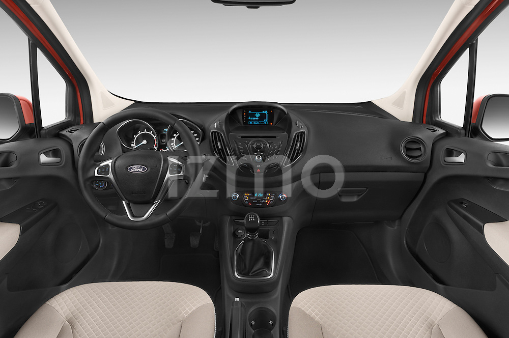 Stock photo of straight dashboard view of a 2015 Ford Tourneo Courier Titanium 5 Door Minimpv Dashboard