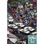 Close to 400 members of the press await the police arrest of Aum Shirikyo founder Shoko Asahara (born Chizuo Matsumoto) in Kamikuishiki, Yamanashi Prefecture on May 16th, 1996. Asahara was later convicted of masterminding the 1995 sarin gas attack on the Tokyo subway and several other crimes for which he was sentenced to death in 2004. (Photo by Yomiuri Newspaper/AFLO)