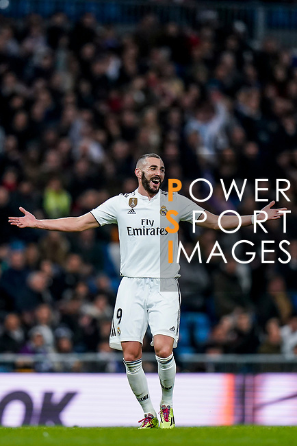 Karim Benzema of Real Madrid reacts during the La Liga 2018-19 match between Real Madrid and Rayo Vallencano at Estadio Santiago Bernabeu on December 15 2018 in Madrid, Spain. Photo by Diego Souto / Power Sport Images