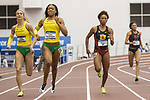 COLLEGE STATION, TX - MARCH 11: Hannah Cunliffe and Ariana Washington of Oregon and Deanna Hall of USC compete in the 200 meter dash during the Division I Men's and Women's Indoor Track & Field Championship held at the Gilliam Indoor Track Stadium on the Texas A&M University campus on March 11, 2017 in College Station, Texas. (Photo by Michael Starghill/NCAA Photos/NCAA Photos via Getty Images)