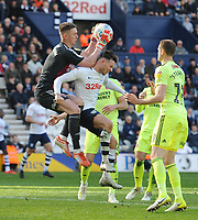 Sheffield United's Dean Henderson is fouled by Preston North End's Alan Browne<br /> <br /> Photographer Kevin Barnes/CameraSport<br /> <br /> The EFL Sky Bet Championship - Preston North End v Sheffield United - Saturday 6th April 2019 - Deepdale Stadium - Preston<br /> <br /> World Copyright © 2019 CameraSport. All rights reserved. 43 Linden Ave. Countesthorpe. Leicester. England. LE8 5PG - Tel: +44 (0) 116 277 4147 - admin@camerasport.com - www.camerasport.com