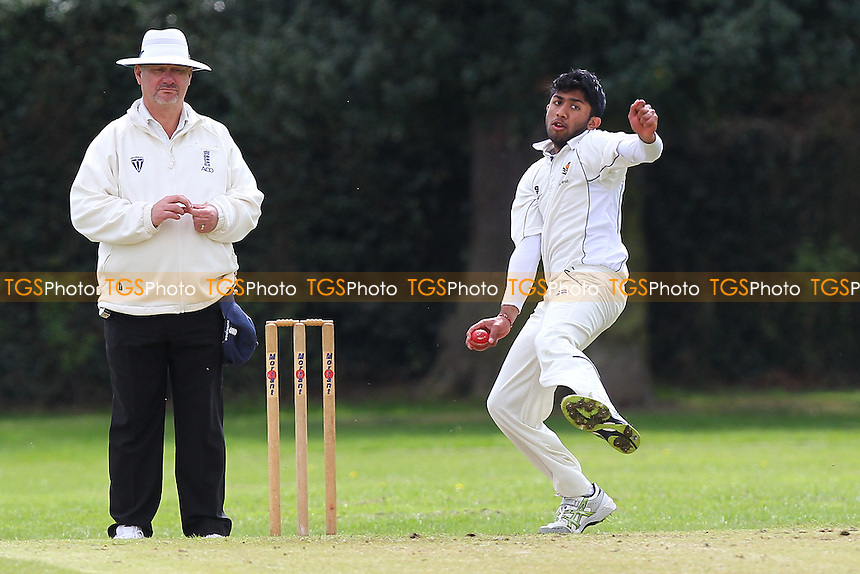 Rahul Patel in bowling action for Chingford - Upminster CC vs Chingford CC - Essex Cricket League Cup at Upminster Park - 25/04/15 - MANDATORY CREDIT: Gavin Ellis/TGSPHOTO - Self billing applies where appropriate - 0845 094 6026 - contact@tgsphoto.co.uk - NO UNPAID USE