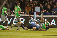 3rd January 2020; AJ Bell Stadium, Salford, Lancashire, England; English Premiership Rugby, Sale Sharks versus Harlequins;  Sam James  of Sale Sharks scores their second try to make it 15-7 despite the attentions of  Vereniki Goneva  - Editorial Use