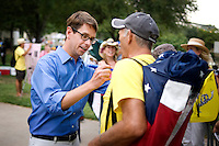 FOX News producer and television personality Griff Jenkins (cq, in blue) sings an autograph for fan Gary Jennings (cq) after a Tea Party Express rally at Indian Spring Park in Waco, Texas, Thursday, September 3, 2009. The Tea Party Express is heading to Washington, DC where it will hold a final rally and march...MATT NAGER/ SPECIAL CONTRIBUTOR