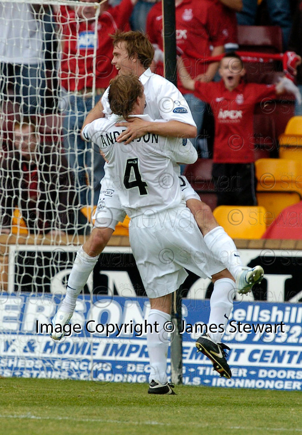 12/08/2006        Copyright Pic: James Stewart.File Name : sct_jspa15_motherwell_v_aberdeen.DARREN MACKIE CELEBRATES WITH RUSSELL ANDERSON AFTER SCORING ABERDEEN'S SECOND....Payments to :.James Stewart Photo Agency 19 Carronlea Drive, Falkirk. FK2 8DN      Vat Reg No. 607 6932 25.Office     : +44 (0)1324 570906     .Mobile   : +44 (0)7721 416997.Fax         : +44 (0)1324 570906.E-mail  :  jim@jspa.co.uk.If you require further information then contact Jim Stewart on any of the numbers above.........