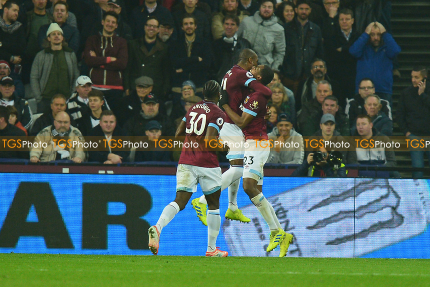 Issa Diop of West Ham United scores the second Goal and celebrates during West Ham United vs Fulham, Premier League Football at The London Stadium on 22nd February 2019