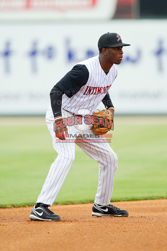 Tim Anderson (2) of the Kannapolis Intimidators on defense against the Greenville Drive at CMC-Northeast Stadium on June 30, 2013 in Kannapolis, North Carolina.  The Drive defeated the Intimidators 3-0.   (Brian Westerholt/Four Seam Images)