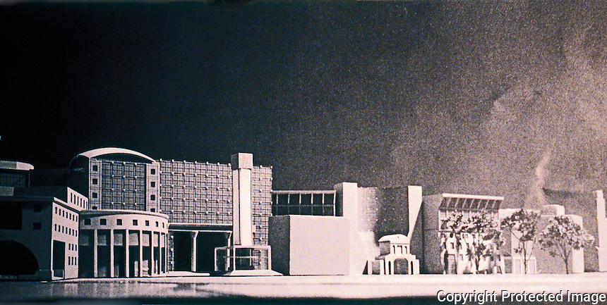 """London: Paternsoter Square, Arata Isozaki. Model of frontage to Precinct--""""a collage of contrasting buildings.""""  Reference only."""