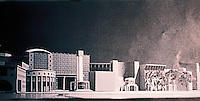 "London: Paternsoter Square, Arata Isozaki. Model of frontage to Precinct--""a collage of contrasting buildings.""  Reference only."