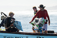 Namotu Island Resort/Fiji (Wednesday, September 11, 2013) -John John and Nathan Florence with film maker Sonny Miller (USA)  The swell was in the 4'-6' range with Cloudbreak being the prime spot.  Namotu Lefts and Wilkies also had clean waves today.  Photo: joliphotos.com
