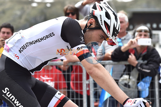 "Tom Dumoulin (NED) Team Sunweb crosses the finish line 46"" down at the end of of Stage 20 of the 2018 Giro d'Italia, running 214km from Susa to Cervinia is the final mountain stage, with the last three climbs of Giro 101 deciding the GC of the Corsa Rosa, Italy. 26th May 2018.<br /> Picture: LaPresse/Massimo Paolone 