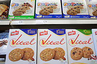 Boxes of Leclerc Vital cookies are seen in a Metro grocery store in Quebec city March 4, 2009.