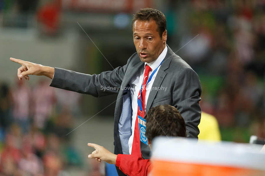 John VAN'T SCHIP of the Heart discussion play with his assistant in the round 21 match between Melbourne Heart and Melbourne Victory in the Australian Hyundai A-League 2013-24 season at AAMI Park, Melbourne, Australia. Photo Sydney Low/Zumapress<br /> <br /> This image is not for sale on this web site. Please visit zumapress.com for licensing