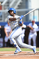 Miguel Hiraldo (5) of the Bluefield Blue Jays follows through on his swing during a game against the Danville Braves at American Legion Post 325 Field on July 28, 2019 in Danville, Virginia. The Blue Jays defeated the Braves 9-7. (Tracy Proffitt/Four Seam Images)