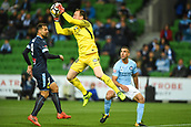 3rd November 2017, Melbourne Rectangular Stadium, Melbourne, Australia; A-League football, Melbourne City FC versus Sydney FC; Eugene Galekovic of Melbourne City FC grabs the ball in the box