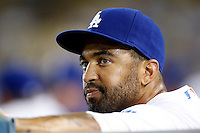 Matt Kemp #27 of the Los Angeles Dodgers in the dugout during a game against the San Francisco Giants at Dodger Stadium on October 02, 2012 in Los Angeles, California. San Francisco defeated Los Angeles 4-3. (Larry Goren/Four Seam Images)