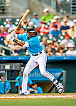 1 March 2019: Miami Marlins outfielder Lewis Brinson at bat during a Spring Training game against the Washington Nationals at Roger Dean Stadium in Jupiter, Florida. The Nationals defeated the Marlins 5-4 in Grapefruit League play. Mandatory Credit: Ed Wolfstein Photo *** RAW (NEF) Image File Available ***
