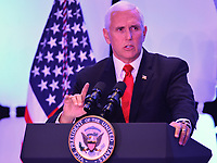 Washington, DC - March 6, 2019: U.S. Vice President Mike Pence speaks at Legislative Summit co-hosted by The Latino Coalition and Job Creators Network at the Park Hyatt Hotel in Washington, D.C. March 6, 2019.  (Photo by Don Baxter/Media Images International)