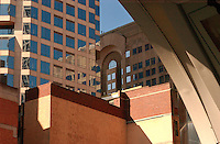 Sydney Monorail Station's archway frames other buildings in the CBD