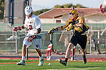 Palos Verdes, CA 03/31/10 - Brooks Hawkins (PV # 22) and unknown Peninsula player in action during the Peninsula-Palos Verdes Junior Varsity Lacrosse game at Palos Verdes High School.  Palos Verdes defeated Peninsula.