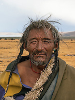 78 year old Tibetan Nomad near Lake Namtso 78 year old Tibetan Nomad near Lake Namtso at an altitude of 4800 meters.