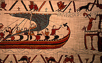 Visual Arts:  Bayeaux Tapestry #3.  Harold returns to England;  in a house, ashore, people await his coming.
