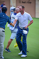 Shawn Stefani (USA) shakes hands with John Huh (USA) following round 1 of the Valero Texas Open, AT&amp;T Oaks Course, TPC San Antonio, San Antonio, Texas, USA. 4/20/2017.<br /> Picture: Golffile | Ken Murray<br /> <br /> <br /> All photo usage must carry mandatory copyright credit (&copy; Golffile | Ken Murray)