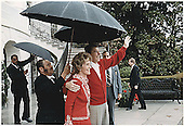 United States President Ronald Reagan returns to the White House in Washington, DC on April 11, 1981 with First Lady Nancy Reagan after being at George Washington Hospital following the attempted assassination on March 31, 1981.<br /> Credit: White House via CNP