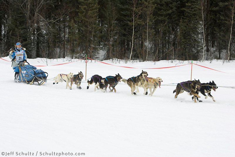 DeeDee Jonrowe on Trail After Restart Iditarod 2005 SC AK Winter Willow