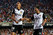 1st October 2017, Mestalla, Valencia, Spain; La Liga football, Valencia CF versus Athletic Bilbao; Rodrigo Moreno of Valencia CF celebrates after scoring in the 65th minute to make it 3-1 with his teammate Guedes