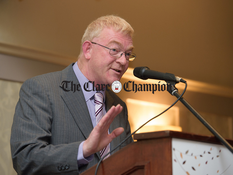 Constituency chairman Sean Chambers overseeing his first convention in the chair at the Clare Fine Gael selection convention in the Auburn Lodge hotel, Enis. Photograph by John Kelly.