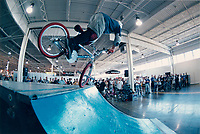 A teen ager biker demonstrate his abilities during a mountain bike demonstration at the Canadian Sporting Goods Association (CSGA) show in Toronto<br /> Photo by Pierre Roussel<br /> <br /> Un jeune cycliste demontre son  talent sur un vÈlo de montagne lors d'un ÈvÈnement ‡ Toronto<br />  (cession de droit - model release)<br /> Photo : Pierre Roussel