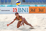 Akiko Hasegawa (JPN), <br /> AUGUST 20, 2018 - Beach Volleyball : <br /> Women's Preliminary Round <br /> at Jakabaring Sport Center Beach Volleyball Court <br /> during the 2018 Jakarta Palembang Asian Games <br /> in Palembang, Indonesia. <br /> (Photo by Yohei Osada/AFLO SPORT)