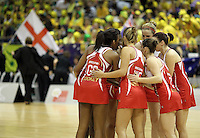 09.07.2011 England in action during the netball match between Silver Ferns and England at the Mission Foods World Netball Championship 2011 held at the Singapore Indoor Stadium in Singapore . Mandatory Photo Credit ©Michael Bradley.