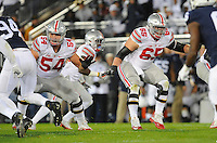 22 October 2016:  Ohio State G Billy Price (54) and C Pat Elflein (65) pass block. The Penn State Nittany Lions upset the #2 ranked Ohio State Buckeyes 24-21 at Beaver Stadium in State College, PA. (Photo by Randy Litzinger/Icon Sportswire)