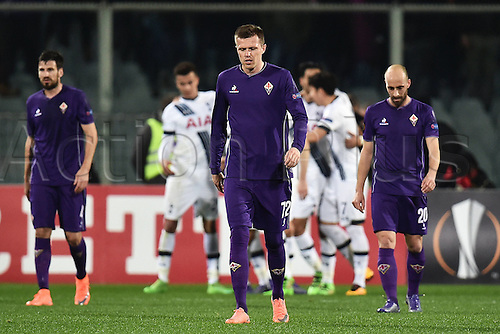 18.02.2016. Florence, Italy.  Nenad Tomovic, Josip Ilicic, Borja Valero Fiorentina Dejected  after the penalty goal from Chadli