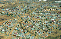 Windhoek Namibia aerial from above of houses in neighborhood tract housing with lakes