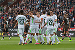 22.07.2017, Millerntor-Stadion, Hamburg, GER, FSP, FC St. Pauli vs SV Werder Bremen<br /> <br /> im Bild<br /> Fin Bartels (Werder Bremen #22) bejubelt seinen Treffer zum 1:1 Ausgleich mit Max Kruse (Werder Bremen #10), Thomas Delaney (Werder Bremen #6), Theodor Gebre Selassie (Werder Bremen #23), Milos Veljkovic (Werder Bremen #13), Florian Kainz (Werder Bremen #7)<br /> <br /> Foto &copy; nordphoto / Ewert