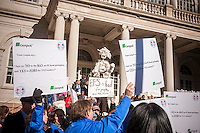 Supporters of the continued use of styrofoam rally at the same time as a coalition of environmental groups rally against styrofoam at City Hall in New York on Monday, November 25, 2013 prior to a hearing by the NY City Council Sanitation and Waste subcommittee on restrictions on polystyrene items.  Other cities have already banned the polystyrene which is not biodegradable.  (© Richard B. Levine)