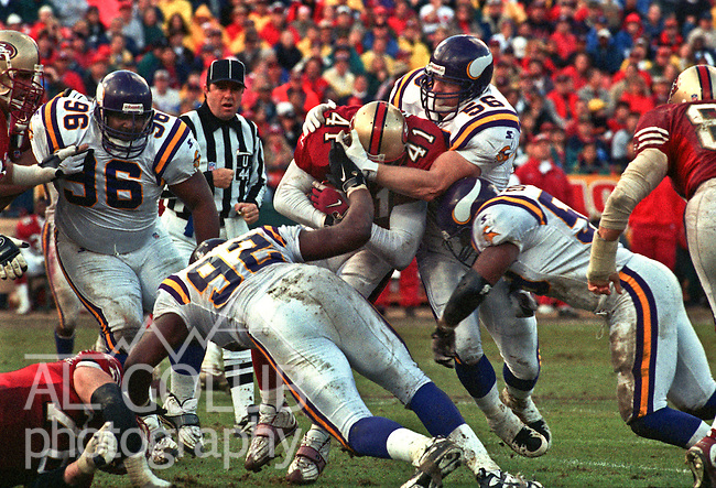 San Francisco 49ers vs. Minnesota Vikings at Candlestick Park Sunday, December 7, 1997.  49ers beat Vikings  28-17.  Minnesota Vikings linebacker Pete Bercich (56) tackles San Francisco 49ers running back Terry Kirby (41).