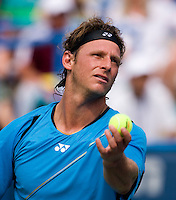 David Nalbandian tosses the ball for a serve during the Legg Mason Tennis Classic at the William H.G. FitzGerald Tennis Center in Washington, DC.  David Nalbandian defeated Marcos Baghdatis in straight sets in the finals Sunday afternoon.