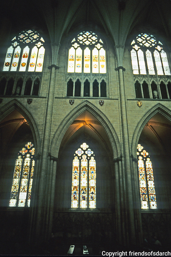 York: York Minster, Nave Clerestory. Stained glass windows. Photo '90.