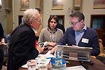 SOESTERBERG -  Paul de Ruijter (KNHB) en Josine Kosman (EY)  tijdens het Technisch Kader congres 2015 olv Topcoach Koen Gonnissen (r) . COPYRIGHT KOEN SUYK