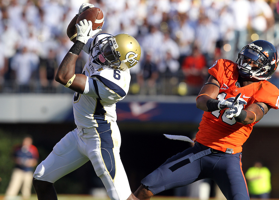 Oct. 15, 2011-Charlottesville, VA.-USA- Georgia Tech cornerback Rod Sweeting (6) intercepts the ball in front of Virginia Cavaliers running back Clifton Richardson (10) during an ACC football game at Scott Stadium. Virginia won 24-21. (Credit Image: © Andrew Shurtleff