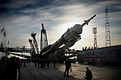 The Soyuz TMA-13 spacecraft arrives at the launch pad at the Baikonur Cosmodrome in Kazakhstan, Friday, Oct. 10, 2008 for launch Oct. 12 to carry Expedition 18 Commander Michael Fincke, Flight Engineer Yury V. Lonchakov and American Spaceflight Participant Richard Garriott to the International Space Station. The three crew members will dock their Soyuz to the International Space Station on Oct. 14. Fincke and Lonchakov will spend six months on the station, while Garriott will return to Earth Oct. 24, 2008 with two of the Expedition 17 crew members currently on the International Space Station.  <br /> Mandatory Credit: Victor Zelentsov / NASA via CNP