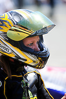 Jul. 17, 2010; Sonoma, CA, USA; NHRA pro stock motorcycle rider Karen Stoffer during qualifying for the Fram Autolite Nationals at Infineon Raceway. Mandatory Credit: Mark J. Rebilas-