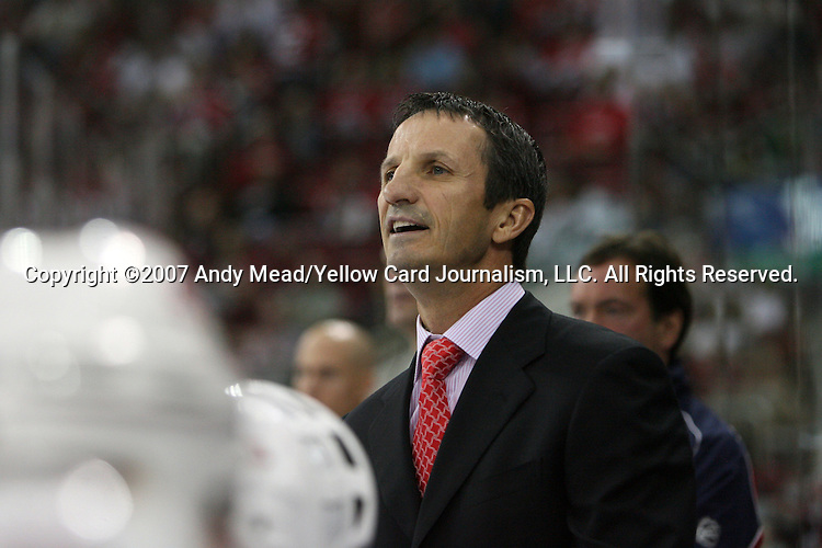 03 October 2007: Montreal head coach Guy Carbonneau. The Montreal Canadiens defeated the Carolina Hurricanes 3-2 in overtime at the RBC Center in Raleigh, North Carolina in a 2007-08 National Hockey League regular season game.