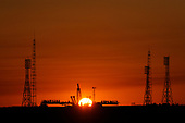 The Soyuz launch pad is seen prior to the rollout of the Soyuz TMA-13 spacecraft at the Baikonur Cosmodrome in Kazakhstan, Friday, Oct. 10, 2008.  The Soyuz is scheduled to launch to the International Space Station Oct. 12 with Expedition 18 Commander Michael Fincke, Flight Engineer Yury V. Lonchakov and American Spaceflight Participant Richard Garriott. The three crew members will dock their Soyuz to the International Space Station on Oct. 14. Fincke and Lonchakov will spend six months on the station, while Garriott will return to Earth Oct. 24, 2008 with two of the Expedition 17 crew members currently on the International Space Station.  <br /> Mandatory Credit: Bill Ingalls / NASA via CNP