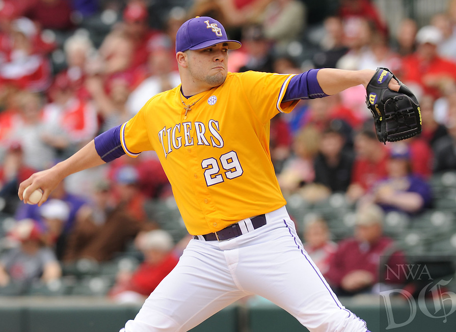 NWA Democrat-Gazette/ANDY SHUPE - Starter Jake Godfrey of LSU delivers a pitch against Arkansas during the first inning Saturday, March 21, 2015, at Baum Stadium in Fayetteville. Visit nwadg.com/photos for more photos from the game.